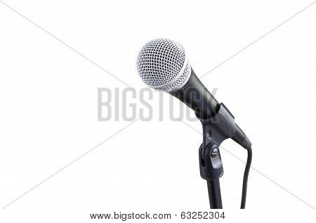 microphone on stand isolated