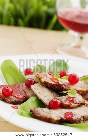 Salad with ramson and meat