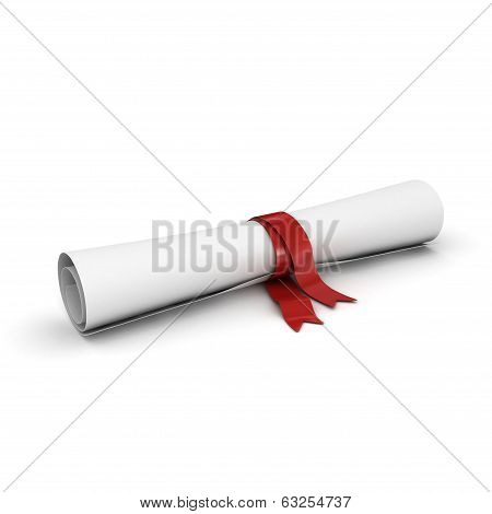 roll of paper like diploma with ribbon, isolated on white, 3d