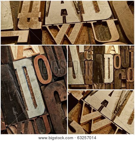 Vintage letter prints collage