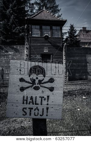 Stop sign in former Nazi concentration camp Auschwitz I, Poland
