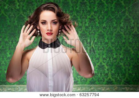 Fashion Woman Retro Style On Green Vintage Background