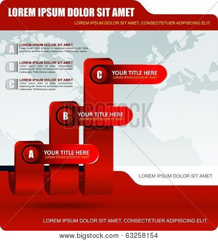 Red business background with three level graph and bookmarks for text content. Can be used for brochure, cover, poster, flyer