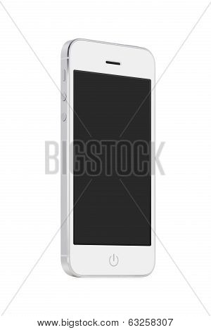 Bottom Up View Of White Mobile Smart Phone With Blank Screen