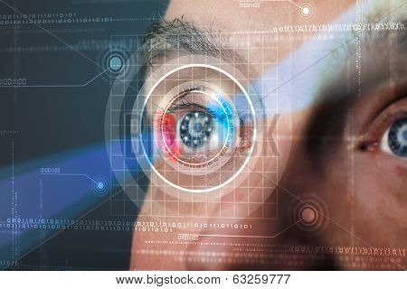 Modern cyber man with technolgy eye looking