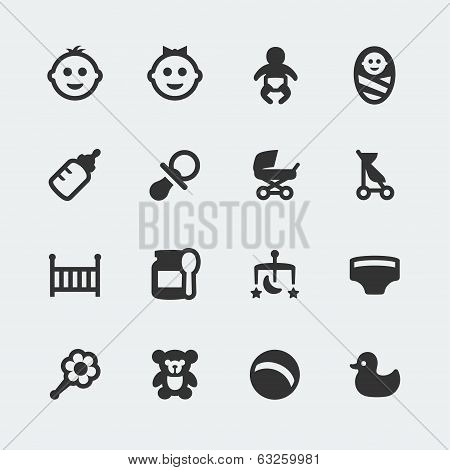 Vector Baby Mini Icons Set