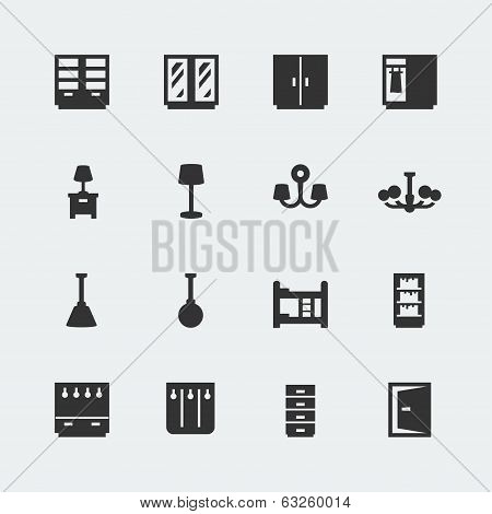 Vector Home Furniture Mini Icons Set #2