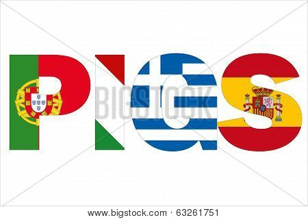 Pigs text written with flags