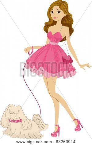 Illustration of a Girl Wearing a Pink Frilly Dress Taking Her Dog for a Walk