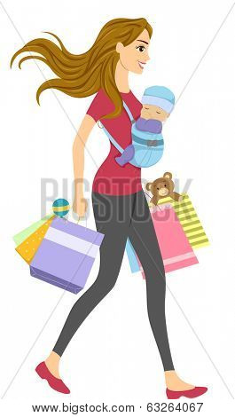Illustration of a Woman with a Baby Carrier Strapped to Her Chest Carrying Shopping Bags
