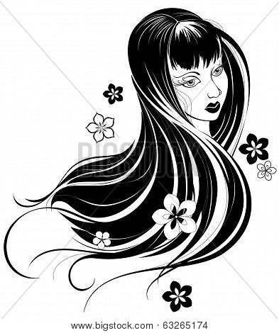 Portrait Of A Asian Girl With Long Hair