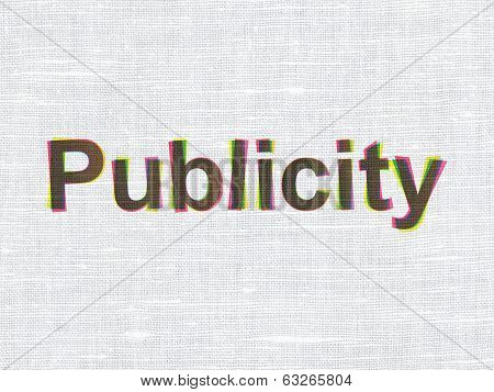 Marketing concept: Publicity on fabric texture background
