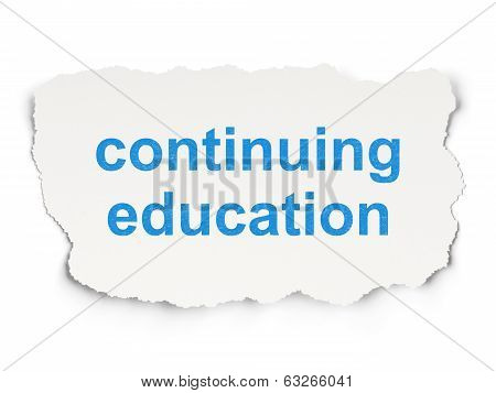 Education concept: Continuing Education on Paper background