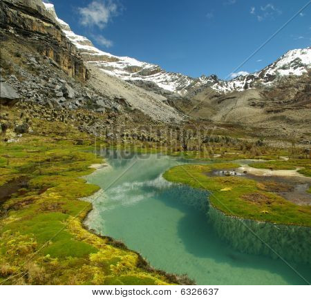High Altitude Lake And Mountains Of The Andes With Snow