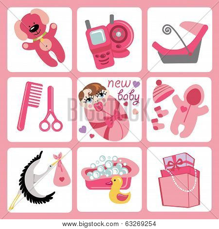 Cute Cartoons Icons For European Baby Girl.newborn Set