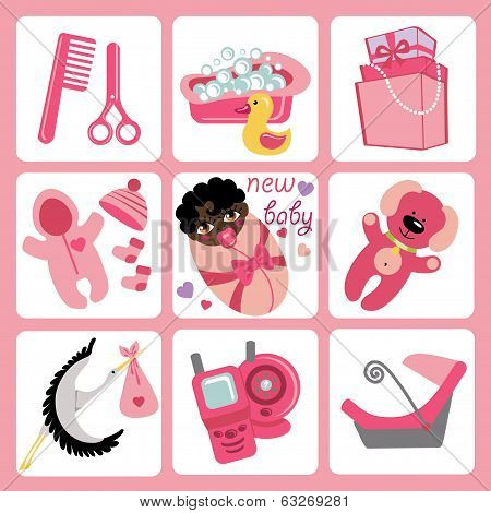 Cute Cartoons Icons For Mulatto Baby Girl.newborn Set