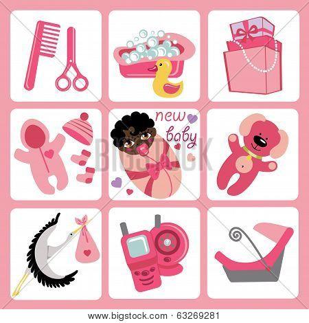 Cute Cartoons Icons For Mulatto Baby Girl.newborn Set
