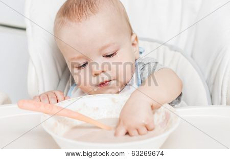 Cute Baby Boy Eating
