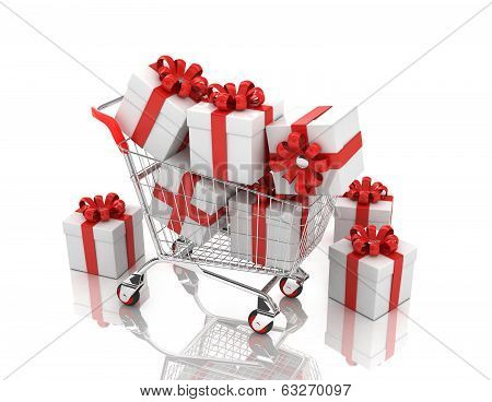 3d shopping cart with gift boxes, isolated on white