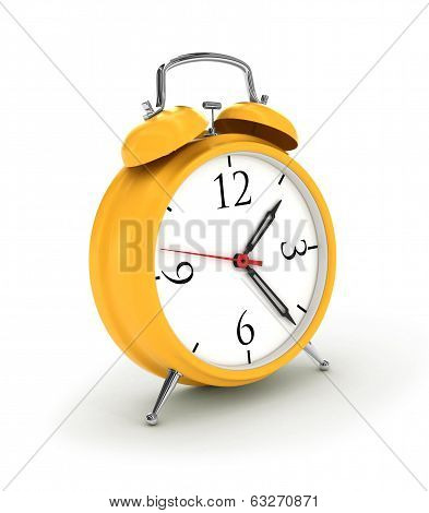 3d. Yellow alarm clock, isolated on the white