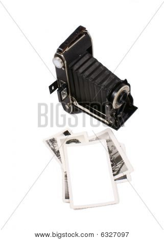 Vintage camera with white space vintage picture frame