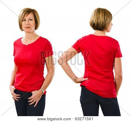 Woman In Her Forties Wearing Blank Red Shirt