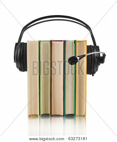 colorful audio book concept with headphones and books