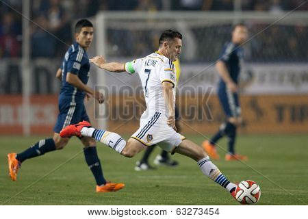 CARSON, CA - APRIL 12: Los Angeles Galaxy F Robbie Keane #7 during the MLS game between the Los Angeles Galaxy & the Vancouver Whitecaps on April 12th 2014 at the StubHub Center.