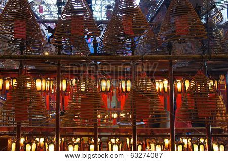 Lanterns and aromatic spirals at the Man Mo Temple