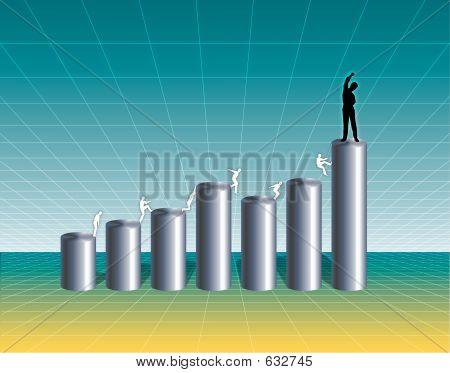 Gráfico de negócio crescente