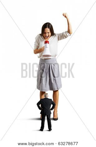 dissatisfied young woman screaming at senior man. isolated on white background