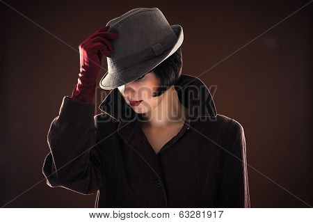 beautiful fashionable woman detective