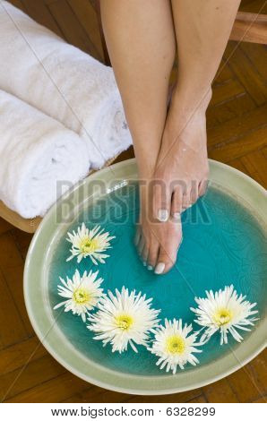 Foot Bath With Herbs And Flowers