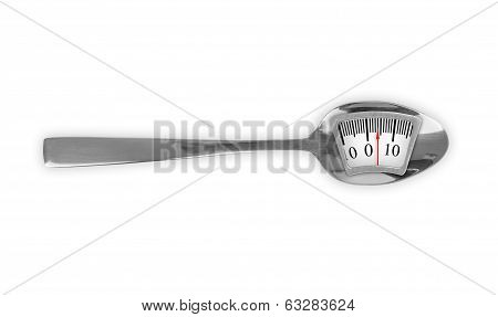 Diet Meal. Metal Spoon With Weight Scale