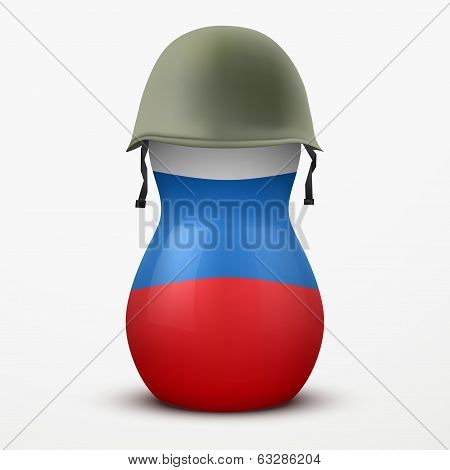 Russian matrioshka in military helmets and flag color.
