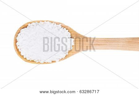Collection of 7 spices on a wooden spoon. isolated on a white background
