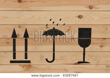 Packaging Symbols On Wood
