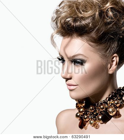 Glamour lady portrait. Beautiful model girl with perfect fashion makeup and hairstyle. Trendy accessories.