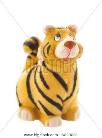 Tiger Statuette On White