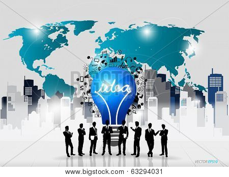 Business people silhouettes and light bulb as inspiration concept with drawing chart and graphs business strategy plan concept idea (building background), vector illustration