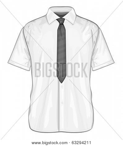 Vector illustration of dress shirt (button-down) with neckties. Short sleeve. Front view