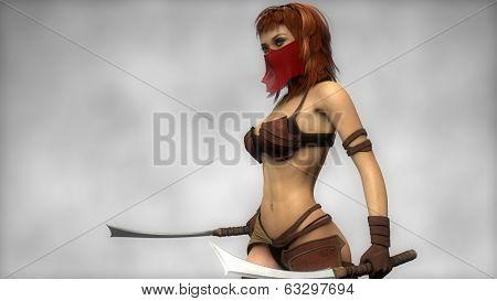 warrior girl with veil