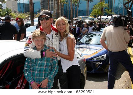 LOS ANGELES - APR 12:  Cole Hauser, son, Cynthia Daniel at the Long Beach Grand Prix Pro/Celeb Race Day at the Long Beach Grand Prix Race Circuit on April 12, 2014 in Long Beach, CA
