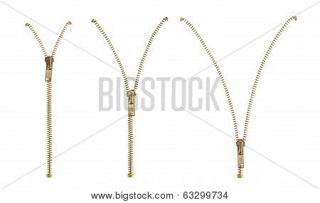 metal zipper on white background