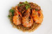 picture of glass noodles  - Steamed Glass Noodles with Shrimp popular Thai food - JPG
