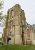 stock photo of veer  - Old Church of the beautiful town of Veere close to Middelburg Zeeland The Netherlands - JPG