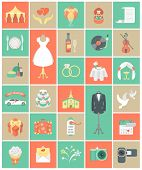 stock photo of marquee  - Set of modern flat square wedding icons - JPG