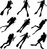 foto of spearfishing  - Set of vector silhouettes scuba diving in different poses - JPG