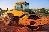 pic of dozer  - roller working on a road construction site - JPG