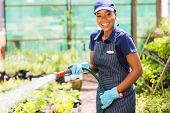 happy african female nursery worker watering plant
